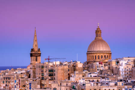 Dawn view of the Carmelite church Our Lady of Mount Carmel in Valletta, Malta.