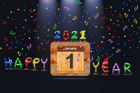 Wooden calendar with first January of 2021 year and colorful text Happy Year. 3d rendering
