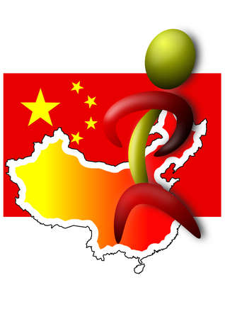 China flag with Map and stick man photo
