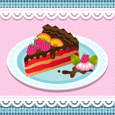 cake slice: sweet  cake with chocolate Illustration