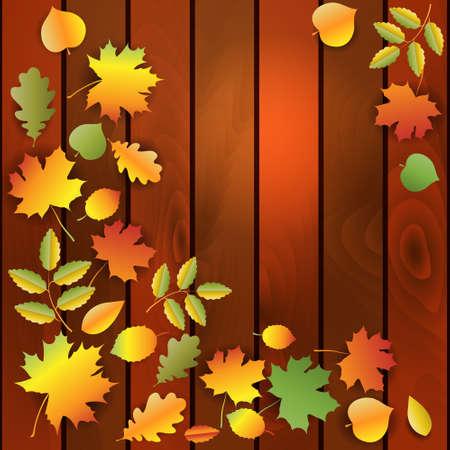 bordering: Hojas de oto�o de colores en madera