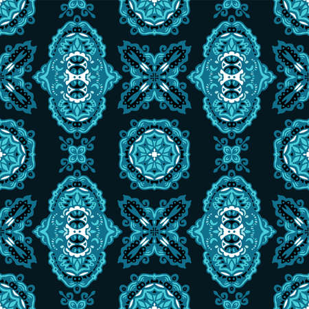 Seamless Ethnic pattern turquoise Vector