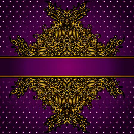 Royal Golden Frame  on Purple Background Illustration