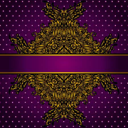 Royal Golden Frame  on Purple Background Vectores