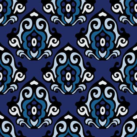 blue damask: blue damask seamless floral Illustration