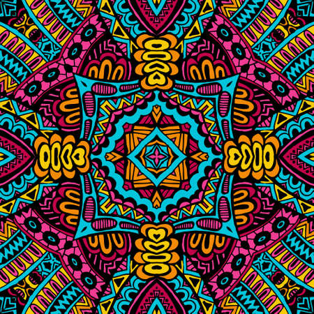 Abstract festive colorful grunge ethnic tribal pattern Vector