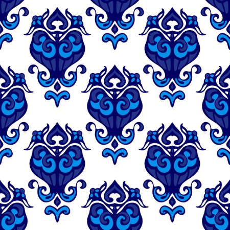 Damask flower flourish pattern Illustration