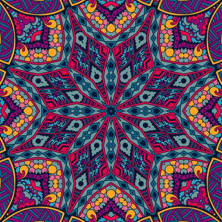 royal safari: Tribal art boho seamless pattern. Ethnic geometric print. Colorful repeating background texture. Fabric, cloth design, wallpaper, wrapping Illustration