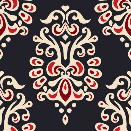 Abstract seamless damask floral vector pattern for fabric Illustration