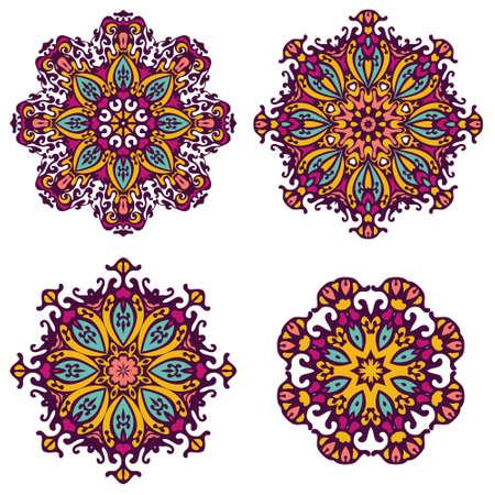 tribales: elementos tribales del vector, colección étnica, montante azteca, arte tribal, diseño tribal aislado en el fondo blanco. Establecer Mandalas. Patrón de ornamento redondo