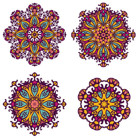 tribal: Vector Tribal elements, ethnic collection, aztec stile, tribal art, tribal design isolated on white background. Set Mandalas. Round Ornament Pattern