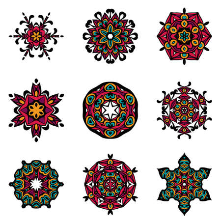 model motive: Vector Tribal elements, ethnic collection, aztec stile, tribal art, tribal design isolated on white background. Set Mandalas. Round Ornament Pattern