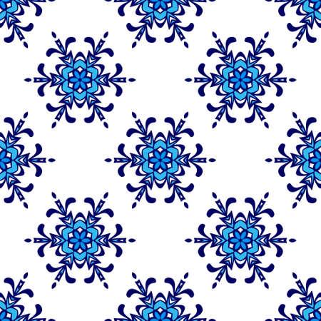 winter flower: Luxury Damask flower seamless pattern blue background. winter snowflake symbol background Illustration