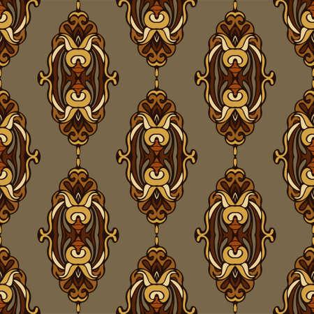 rapport: vintage seamless pattern rapport damask floral. flourish design style Illustration
