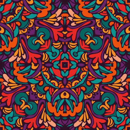 tribal ethnic bohemia fashion abstract indian, seamless wavy background. Ilustração