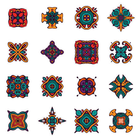 ethnographic: set of vector graphic abstract damask ornamental designs. Luxury royal pattern. Vintage design ethnic tribal ornamental tiles. Damask Vector Pattern Elegant abstract elements