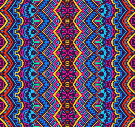 ファブリックの民族のお祝いパターン。抽象的な幾何学的なカラフルなヴィンテージのシームレスなパターン装飾。