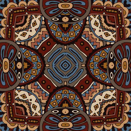 mosaic tiles: Abstract vintage ethnic geometric mosaic seamless pattern. Mosaic tiles ornamental Illustration