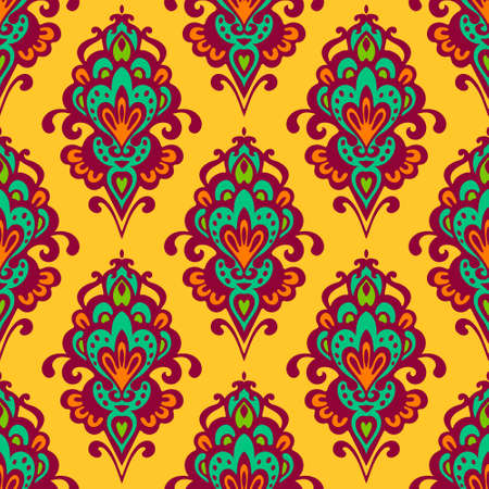 rapport: Damask vector festive yellow abstract seamless pattern Illustration