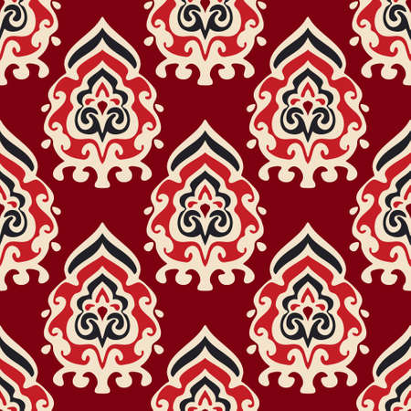 ornamental design: Seamless red  damask floral vector pattern for fabric