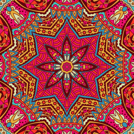 Tribal art bohemia seamless pattern. Ethnic geometric print. Colorful repeating background texture. Fabric, cloth design wrapping