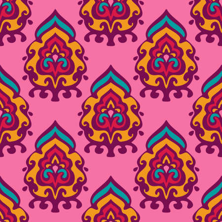 Damask vector festive yellow abstract seamless pattern Illustration