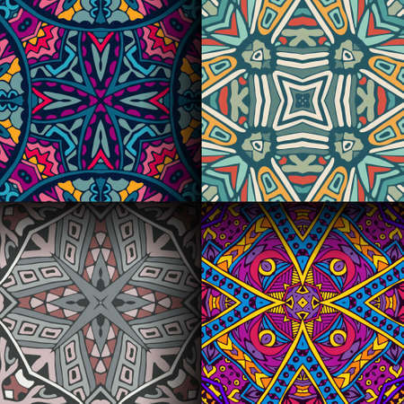 Colorfull Ethnic Seamless Patterns. Tribal Geometric Background. Stylish  Trendy Fabric. Modern Abstract Wallpaper