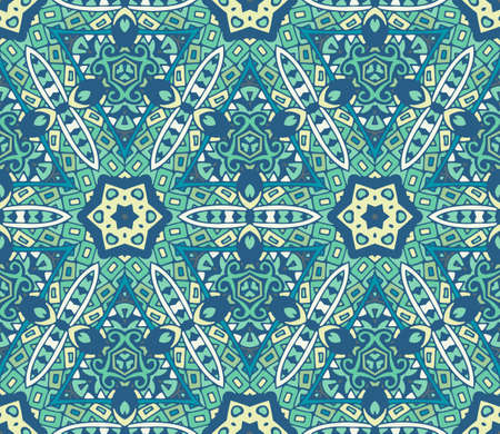 rapport: Abstract blue seamless ornamental vector pattern for fabric. mosaic tiled