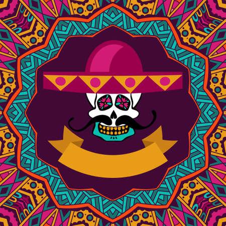 muertos: cute invitation cards for dia de los muertos, doodle sugar scull with mustache and sombrero vector illustration