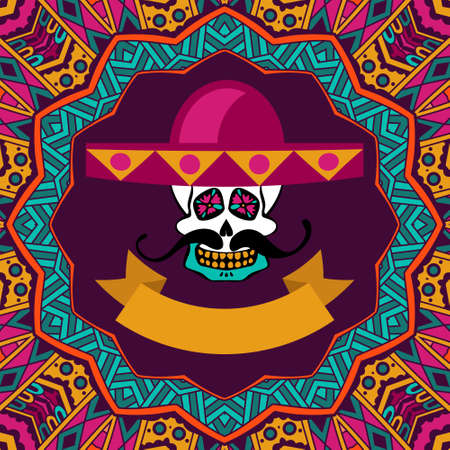 cute invitation cards for dia de los muertos, doodle sugar scull with mustache and sombrero vector illustration