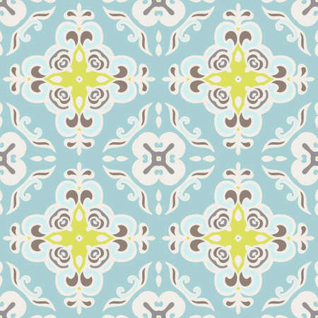 tiled: Seamless abstract tiled pattern vector. Geometric classical damask ornament