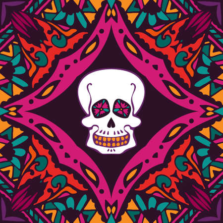 of helloween: mexican style ornamental pattern with skull. helloween surface design