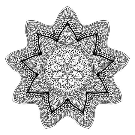 art therapy: abstract mandala design round ornament. Art therapy outline template for colour