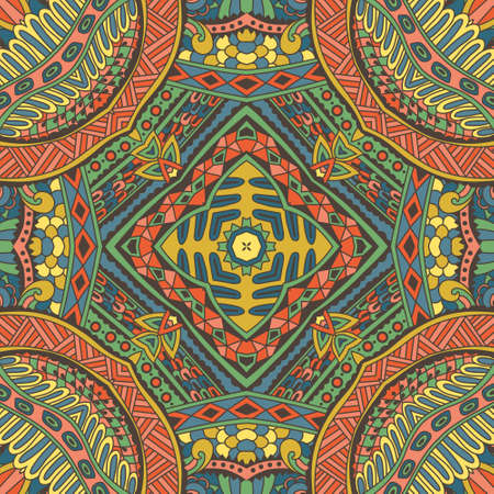 Abstract festive colorful grunge vector ethnic tribal pattern Ilustração