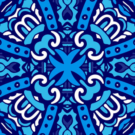 Abstract seamless ornamental vector pattern for fabric. Blue and white tile. Illustration