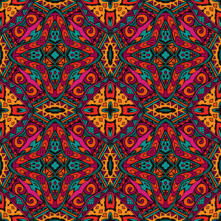 intricate: Ethnic tribal intricate colorful  indian seamless pattern