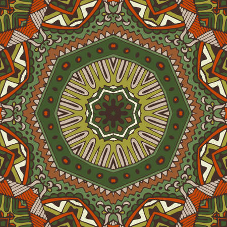green ornamental Ethnic Festive Abstract geometric Vector Pattern