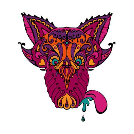 personage: doodle ornamental wolf tatoo personage. Head wolf tattoo