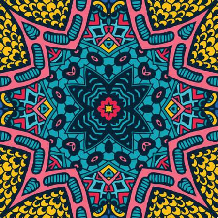 colorful grunge: Abstract festive colorful grunge vector ethnic tribal pattern Illustration