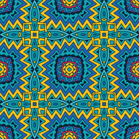 festive geometric kaleidoscopic seamless pattern ethnic tribal background Illustration
