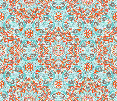 Ethnic decorative ornamental swirl and star seamless pattern
