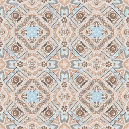 Abstract Tribal indian mosaic motif seamless pattern. Bohemian  Geometric print Illustration