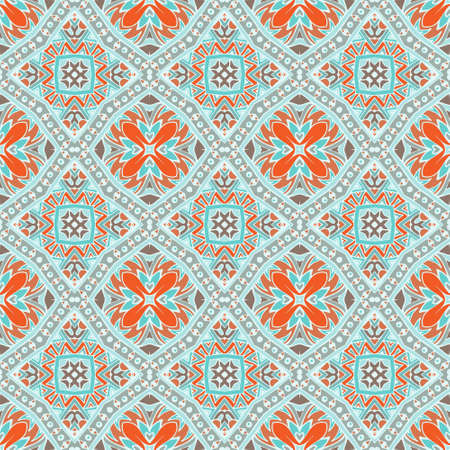 Abstract seamless ornamental vector tiles pattern for fabric Illustration