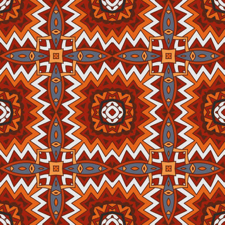 Vector abstract ethnic seamless pattern tribal background. Endless geometric print Illustration
