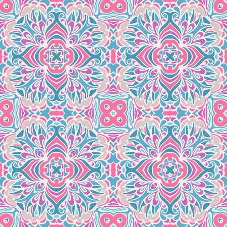 wrap: Cute Damask vector festive gift wrap ornament seamless pattern Illustration