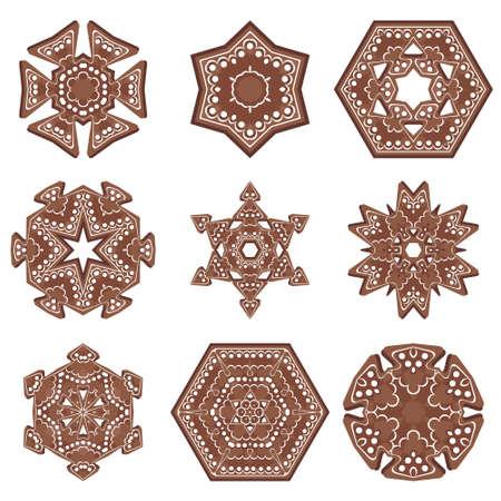ginger bread: set of new year ginger bread mandala ornaments