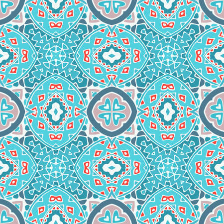 tiled: blue seamless doodle vector pattern for fabric. mosaic tiled Illustration