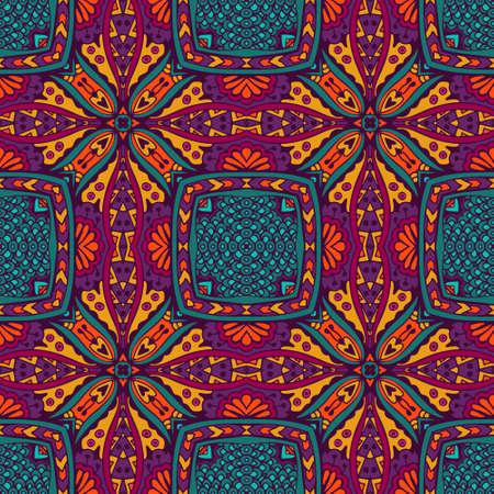 Festive Colorful Tribal ethnic seamless vector pattern ornamental. Geometric muticolor print Illustration