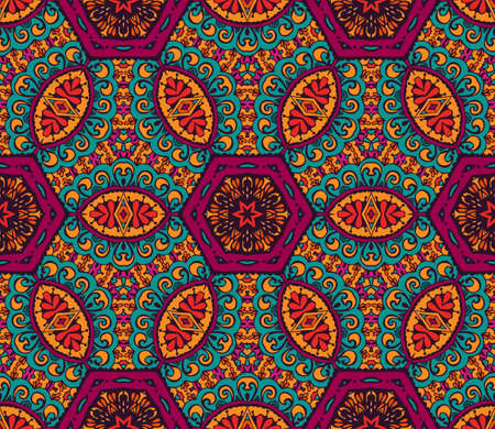 Abstract seamless pattern ornamental. Festive colorful background design. Geometrical Ethnic floral mosaic Ornament