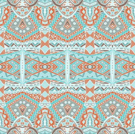 Vector Tribal Mexican style ethnic seamless pattern. Vintage indian geometric background